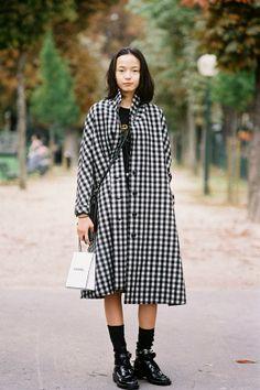 Vanessa Jackman: Paris Fashion Week SS 2014.... Xiao Wen Ju #gingham #model #streetstyle