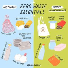 🌿Some zero-waste items and their budget version! Being zero-waste does NOT have to be high maintenance or expensive! Plastik Recycling, Un Book, Free Planet, Da Planet, Plastic Free July, No Waste, Reduce Waste, Stainless Steel Bottle, Green Life