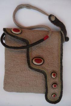 Messenger bag, Felted Messenger bag,  Beige bag, Merino felt messenger bag, OOAK by BuriFelt on Etsy