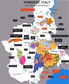 Mappa dei vini piemontesi.