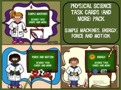 Get all three physical science resources on energy, simple machines, and force and motion, and save three dollars! You get 120 task cards in color, 120 task cards in black and white (same questions on both) plus 7 classroom activities and three games. Physical science will be a snap with these fun resources! $