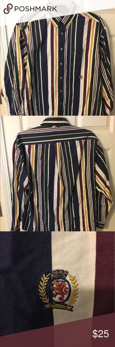 """Vtg 90s Tommy Hilfiger Long Sleeve Striped Shirt Worn a few times. Great Condition. Measurements Top To Bottom is 32"""" and Armpit to Armpit is 26"""" Tommy Hilfiger Shirts Casual Button Down Shirts"""