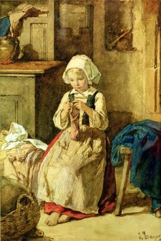 Jules Trayer (1824 – 1909, French) - Young Girl Sewing,