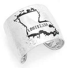 Louisiana State Hammered Silver Tone Wide Metal Cuff Bracelet * Check this awesome product by going to the link at the image.