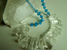 Icy Blue Glass Crystal and Cool Clear Quartz by BlueRidgeBijoux, $49.00