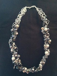 Silver Wire Crochet Necklace