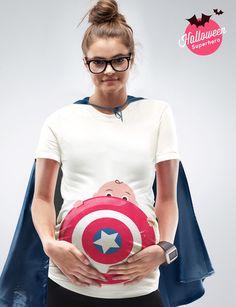 My Superhero Maternity Halloween T-shirt by Mamagama Pregnant Babybump