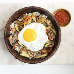 """Vegetarian Bibimbap I """"This is a fantastic take on bibimbap. I also use a spicy chili sesame oil to fry the egg or to fry some meat in and it adds a great kick to the dish."""""""