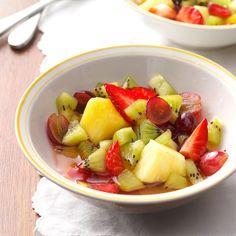 Tequila-Lime Fruit Salad Recipe -Looking for a fast, colorful side to round out any meal? This refreshing fruit salad is pure perfection! —Angela Howland, Haynesville, Maine fruit salad recipe Best Fruit Salad, Fruit Salad Recipes, Fruit Salads, Fruit Dishes, Tequila, Recipe 30, Delicious Fruit, Fresh Lime Juice, Fresh Fruit