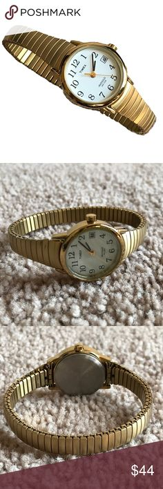 """Timex Indiglo gold tone stretch band woman's watch Timex indiglo watch in great condition. Fully functional, working battery, indiglo functional (shown in photos).  Stretch band fits up to a 7 1/2 inch wrist. Will go on a 8 inch wrist but is uncomfortable on my 7 3/4"""" wrist. Gold tone color. Timex Accessories Watches"""