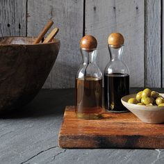 Glass Bottles With Wood Stoppers - Oil + Vinegar | west elm $19