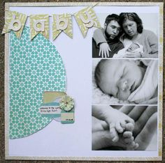 31 Trendy Ideas For Baby Cards Girl Photo Layouts Baby Boy Scrapbook, Pregnancy Scrapbook, Bridal Shower Scrapbook, Baby Scrapbook Pages, Scrapbook Templates, Scrapbook Page Layouts, Scrapbook Paper Crafts, Scrapbook Cards, Baby Memories