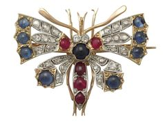 Antique Diamond and Sapphire, Ruby and 18 ct Yellow Gold Butterfly Brooch c. 1890