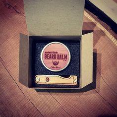 Personalized Handmade Folding Wood Beard Comb & Balm Kit - Tigerlily Marble Acrylic