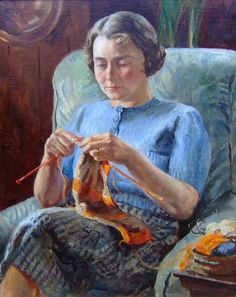 Knitting by Leonard Fuller. Penlee Art Gallery