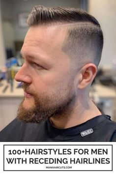 A comb-over look is a perfect way to obtain the sleek, side-swept hairstyle for men with receding hairlines. Check out this list and find more haircut ideas that are easy to recreate. #comboverhairstyle #menrecedinghair #baldingmenhairstyle #menhairstyle #manhaircuts Combover Hairstyles, Hairstyles For Receding Hairline, Receding Hair Styles, Bald Men, Comb Over, Haircuts For Men, Hair Cuts, Side Swept, Easy