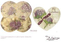 Free-printable Lavender Rose Heart Pocket and Card