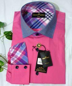 Bertigo Pink Blue Plaid Designs Cotton Fancywork Men Dress Shirt Size 5/XL  #Bertigo #ButtonFront
