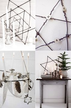 The Christmas star in branches brings a naturel feel to the Christmas decor. Star from tinekhome.com