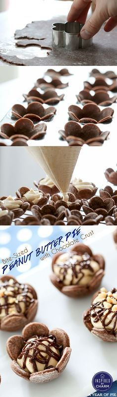 Dying for these adorable and delicious Bite-Sized Peanut Butter Pies with Chocolate Crust! Dying for these adorable and delicious Bite-Sized Peanut Butter Pies with Chocolate Crust! Just Desserts, Delicious Desserts, Dessert Recipes, Yummy Food, Elegant Desserts, Bite Size Desserts, Easter Desserts, Delicious Chocolate, Recipes Dinner