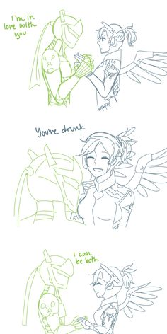 """senassi: """"im lazy af but i still wanted to draw some gency .. based on this """" Super cute comic! -Knight"""