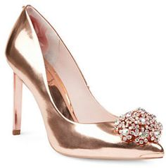 Ted Baker Peetch Broach Embellished Leather Pumps