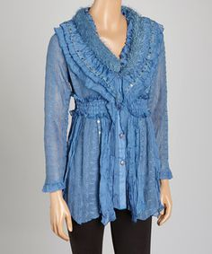 Another great find on #zulily! Dark Blue Smocked Silk-Blend Button-Up Tunic by Pretty Angel #zulilyfinds