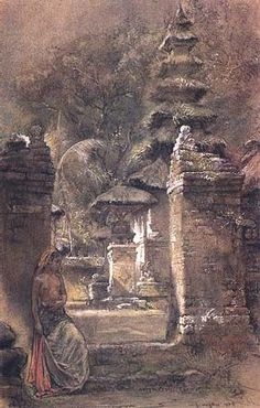 Willem Gerard Hofker - Balinese bij tempelingang