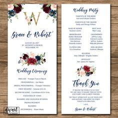 Flower Wedding Program, Ceremony Program - rustic boho garden wedding, pink burgundy navy gold watercolors flowers roses peonies - Grace by DIVart on Etsy