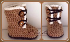 Hand Knitted / Crochet Baby Snow Boots / Pram by LilBitCrochet