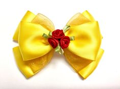 This beautiful bow is inspired by Belle in her ballgown from Beauty and the Beast. This bow is so gorgeous and simple. Princess Hair Bows, Girl Hair Bows, Girls Bows, Boutique Bows, Hair Ribbons, Ribbon Bows, Disney Hair Bows, Belle Hairstyle, Barrettes