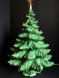 """795f5ec46967c Details about Vtg Christmas Tree Artificial Ceramic Lighted 25"""" Music Box 4  pc Atlantic Mold"""