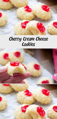 These Cream Cheese Cookies are one of my family's favorite Christmas cookie recipes! We've been making these soft melt-in-your mouth cookies for as long as I can remember. Grandma's recipe, with marachino cherries, nuts and almond extract. White Chocolate Cranberry Cookies, Chocolate Crinkle Cookies, Chocolate Crinkles, Molasses Cookies, Candy Cane Cookies, Cherry Cookies, Sugar Cookies, Cream Cheese Cookies, Cookies And Cream