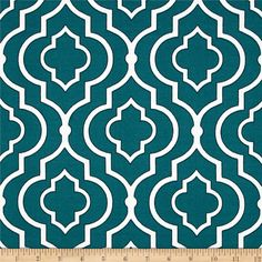 Swavelle/Mill Creek Indoor/Outdoor Starlet Peacock from @fabricdotcom Colors include white and peacock blue/teal.