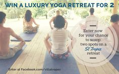 #Competition time! Fancy the opportunity to #win a #yogaretreat in #StTropez? You and a friend could be joining us for our sold-out long weekend of #yoga, wellness and relaxation at the luxurious #VillaTropez. To enter head over to our Facebook page: www.facebook.com/villatropez. Be quick! Comp closes 30 March, 2015. Competition Time, Yoga Retreat, How To Do Yoga, Long Weekend, Giveaways, Opportunity, Relax, March, Wellness