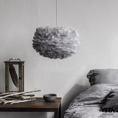 http://jensen-beds.com/ like this bedroom lighting. Eos feather lamp S, grey – Vita #interior #design #scandinavian