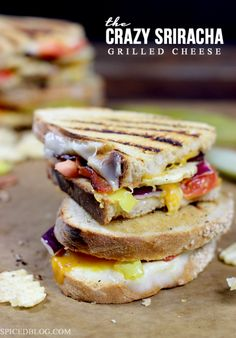 The Crazy Sriracha Grilled Cheese from spicedblog.com #grilledcheese #sandwich