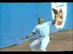 Jose Canseco lets a home run bounce off his head.