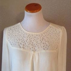 HD In Paris Anthropologie Ivory Cream Laser Lace 3/4 Sleeve Blouse Top Sz 4 S  | eBay
