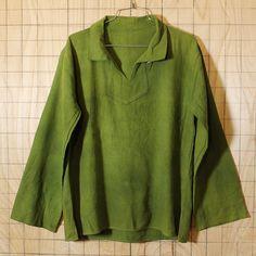 USA製古着無地グリーン開襟コットンシャツ・ヘビーネルシャツ|メンズM相当