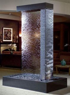 Indoor Water Features Ideas Indoor Water Features: Wall Fountain Decoration for Homes Indoor Water Features. Do you enjoy the cool ambiance and sound of a water fountain just located at the front l… Water Fountain For Home, Water Wall Fountain, Tabletop Water Fountain, Indoor Wall Fountains, Indoor Fountain, Water Fountains, Glass Waterfall, Indoor Waterfall, Wall Waterfall