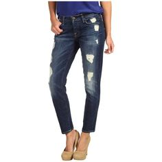 7 For All Mankind Josefina Skinny Boyfriend in Rich Dark Destroyed ($235) ❤ liked on Polyvore