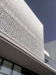 Marassi Al Bahrain  Sales Center - Modern Architecture Pattern Minimalist Facade Contemporary Parametric Pattern Aluminium White Box Cube Minimal Bahrain Waterfront Marassi Design Art Sales Center Details simple simplicity shadows Gradient Fading Dissolving