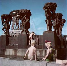 Robert Capa -  Oslo. 1951. Children play in the Gustav Vieglund Sculpture Park.