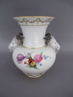 Beautiful KPM Porcelain Vase with Ram's Head Handles