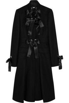 Alexander McQueen Bow-embellished wool-felt coat | NET-A-PORTER