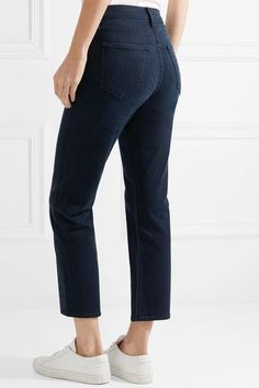 Mother - The Tomcat Cropped High-rise Straight-leg Jeans - Dark denim