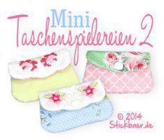 Mini-Taschenspielereien 2 Stickdateien, machine embroidery files Bags ITH, zauberhafte Minitaschen für den 10x10er Rahmen 4x4 hoop