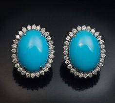 Large Turquoise Diamond White Gold Earrings - Antique Jewelry | Vintage Rings | Faberge Eggs #JewelryVintage