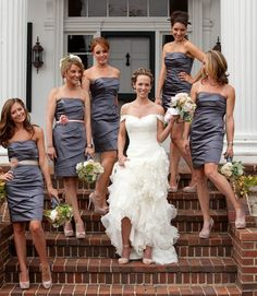 Really love the belt/flower addition to these bridesmaids dresses